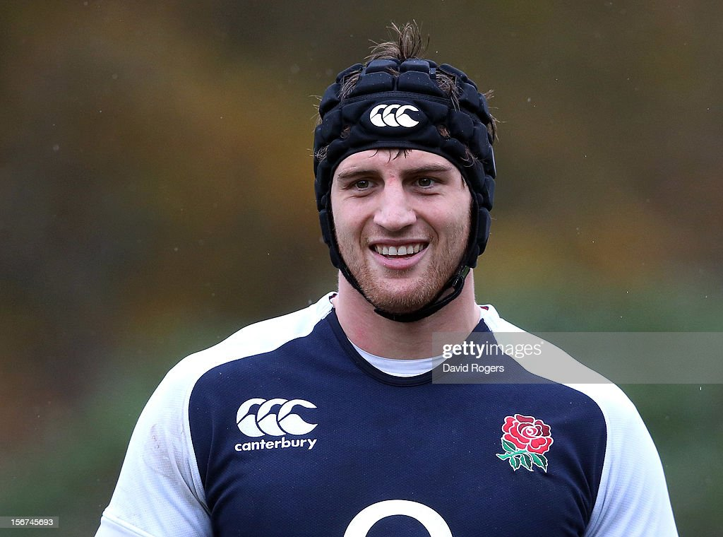 Tom Wood looks on during the England training session held at Pennyhill Park on November 20, 2012 in Bagshot, England.