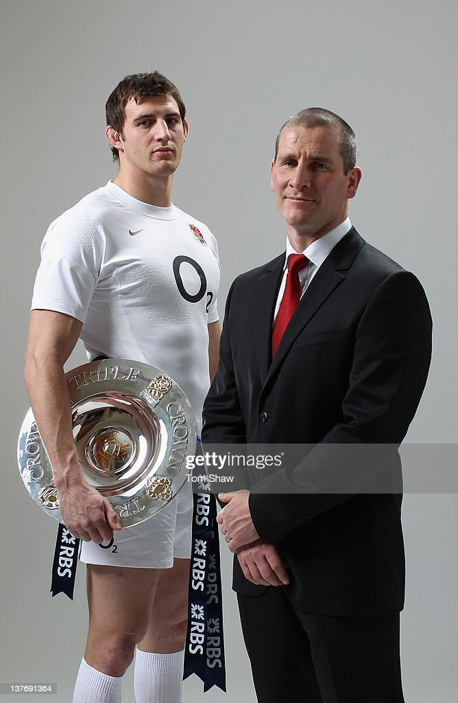 Tom Wood of England and Head Coach <a gi-track='captionPersonalityLinkClicked' href=/galleries/search?phrase=Stuart+Lancaster&family=editorial&specificpeople=2263180 ng-click='$event.stopPropagation()'>Stuart Lancaster</a> of England pose with the Triple Crown during the RBS Six Nations Launch at The Hurlingham Club on January 25, 2012 in London, England.