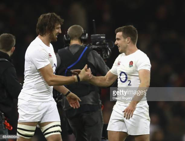 Tom Wood of England celebrates with team mate George Ford after their victory during the RBS Six Nations match between Wales and England at the...