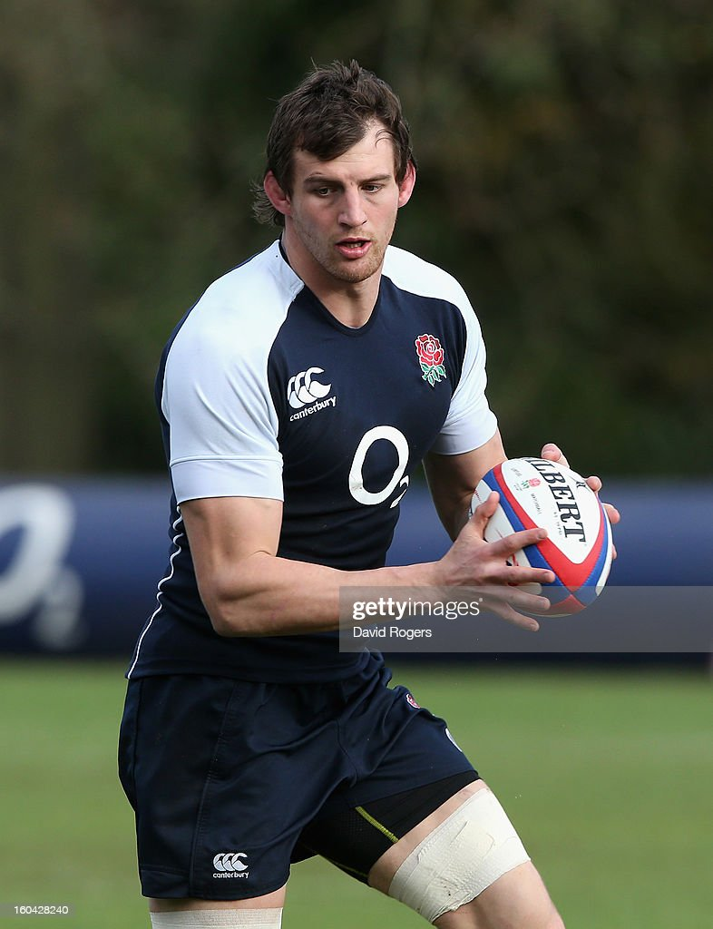 Tom Wood of England in action during an England training session at Pennyhill Park on January 31, 2013 in Bagshot, England.