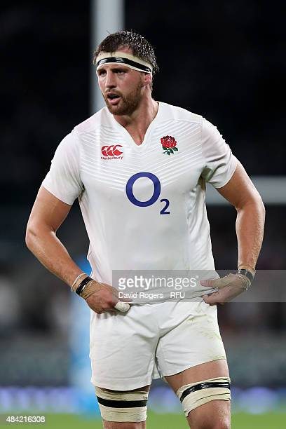 Tom Wood of England in action during the QBE International match between England and France at Twickenham Stadium on August 15 2015 in London England