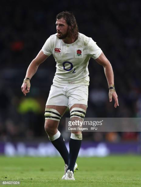 Tom Wood of England in action during the RBS Six Nations match between England and France at Twickenham Stadium on February 4 2017 in London England