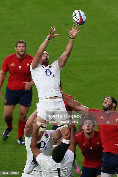 Tom Wood of England jumps for a lineout ball during the QBE International match between England and France at Twickenham Stadium on August 15 2015 in...
