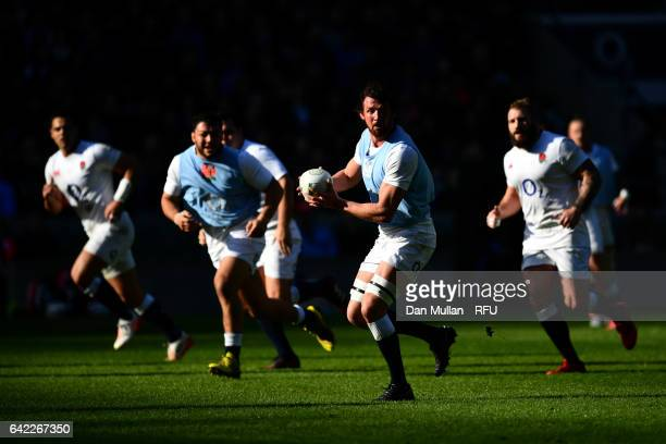 Tom Wood of England passes the ball during an England open training session at Twickenham Stadium on February 17 2017 in London England