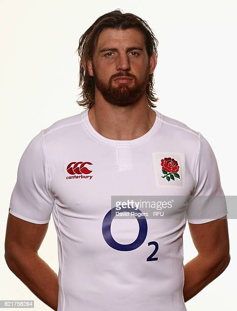 Tom Wood of England poses for a portrait during the England Elite Player Squad photo call at Pennyhill Park on November 8 2016 in Bagshot England