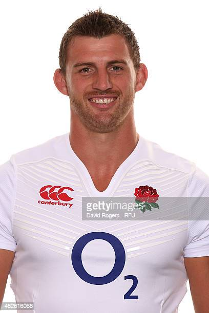Tom Wood of England poses for a portrait during the England squad photocall at Pennyhill Park on August 2 2015 in Bagshot England