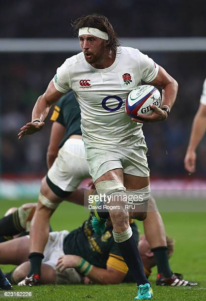 Tom Wood of England runs with the ball during the Old Mutual Wealth Series match between England and South Africa at Twickenham Stadium on November...
