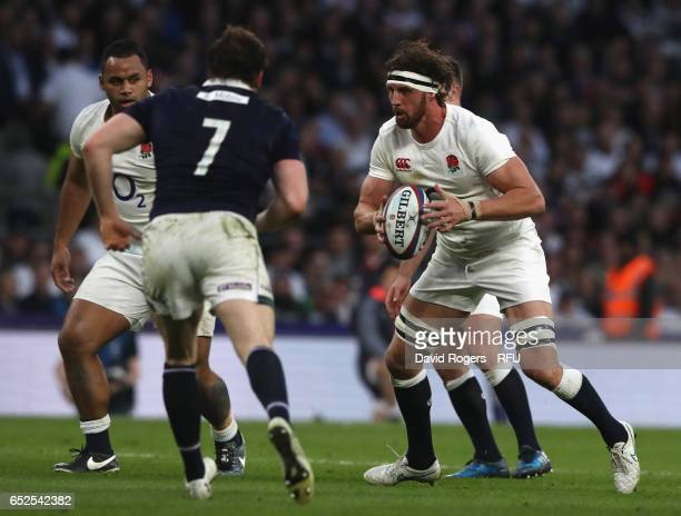 Tom Wood of England runs with the ball during the RBS Six Nations match between England and Scotland at Twickenham Stadium on March 11 2017 in London...