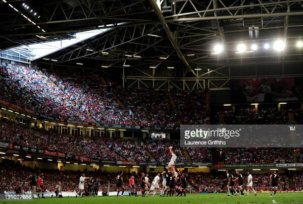Tom Wood of England wins lineout ball during the rugby union international friendly match between Wales and England at the Millennium Stadium on...