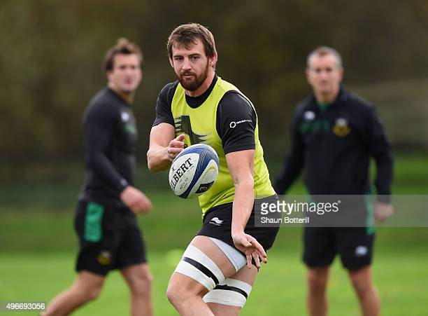 Tom Wood of Northampton Saints during training at Franklins Gardens on November 11 2015 in Northampton England
