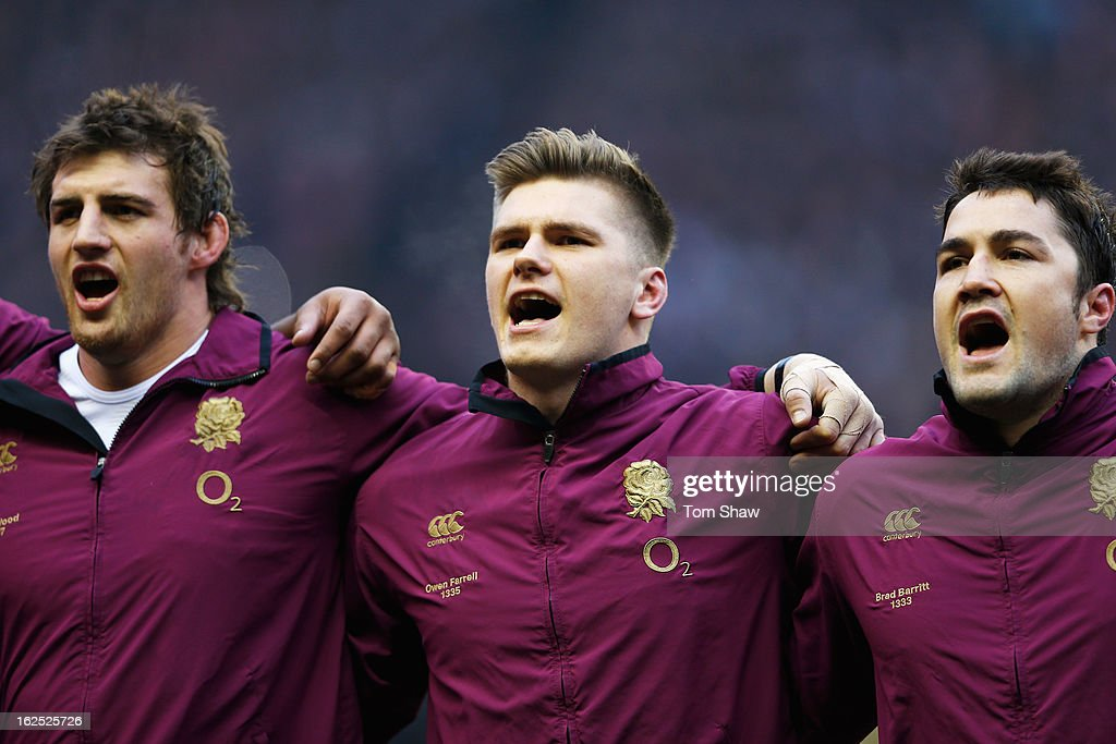 Tom Wood, Owen Farrell and Brad Barritt of England sing the national anthem during the RBS Six Nations match between England and France at Twickenham Stadium on February 23, 2013 in London, England.