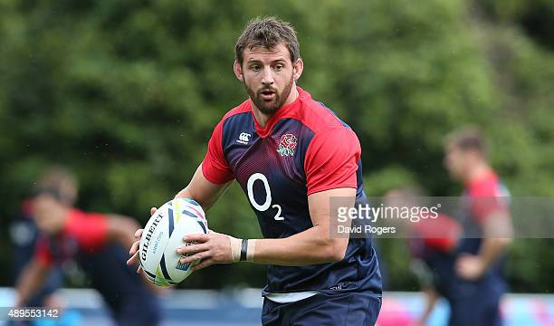 Tom Wood runs with the ball during the England training session at Pennyhill Park on September 22 2015 in Bagshot England