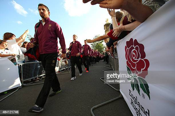 Tom Wood the captain of England leads his team into the stadium prior to kickoff during the QBE International match between England and France at...