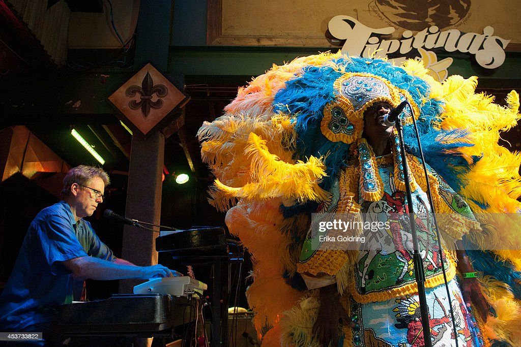 Tom Worrell and Spyboy of The Wild Magnolias Mardi Gras Indians perform at Tipitina's on August 16, 2014 in New Orleans, Louisiana.