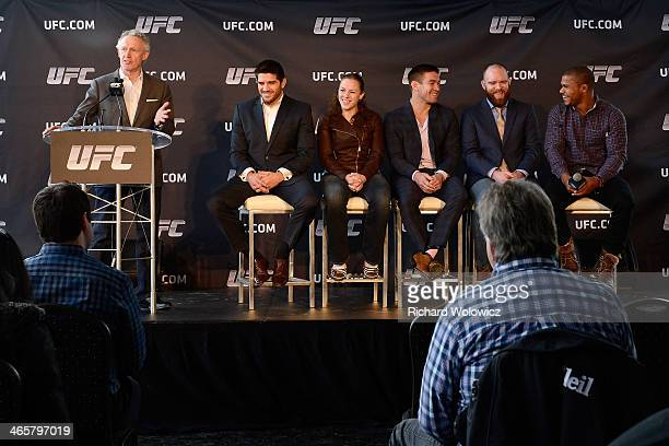 Tom Wright UFC Managing Director Canada Australia and New Zealand along with UFC fighters Patrick Cote Sarah Kaufman and Sam Stout TJ Grant and Alex...