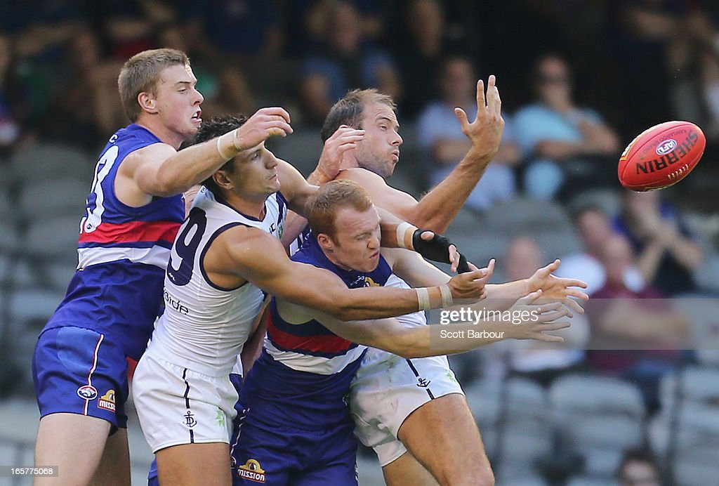 Tom Young of the Bulldogs competes for the ball during the round two AFL match between the Western Bulldogs and the Fremantle Dockers at Etihad Stadium on April 6, 2013 in Melbourne, Australia.