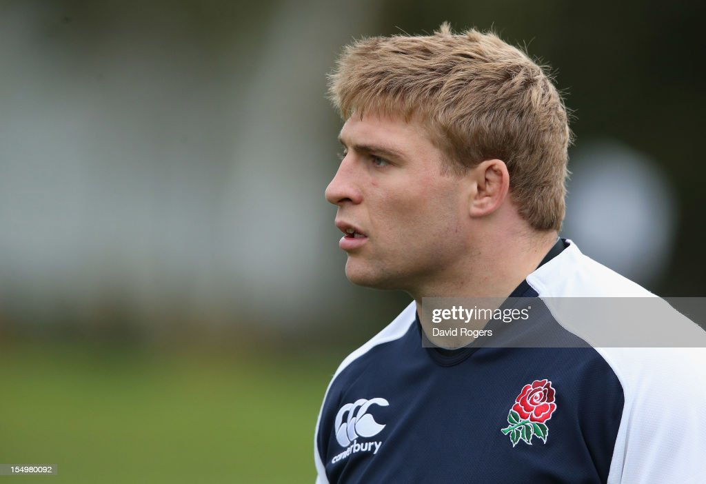 Tom Youngs looks on during the England training session held at St Georges Park on October 29, 2012 in Burton-upon-Trent, England.