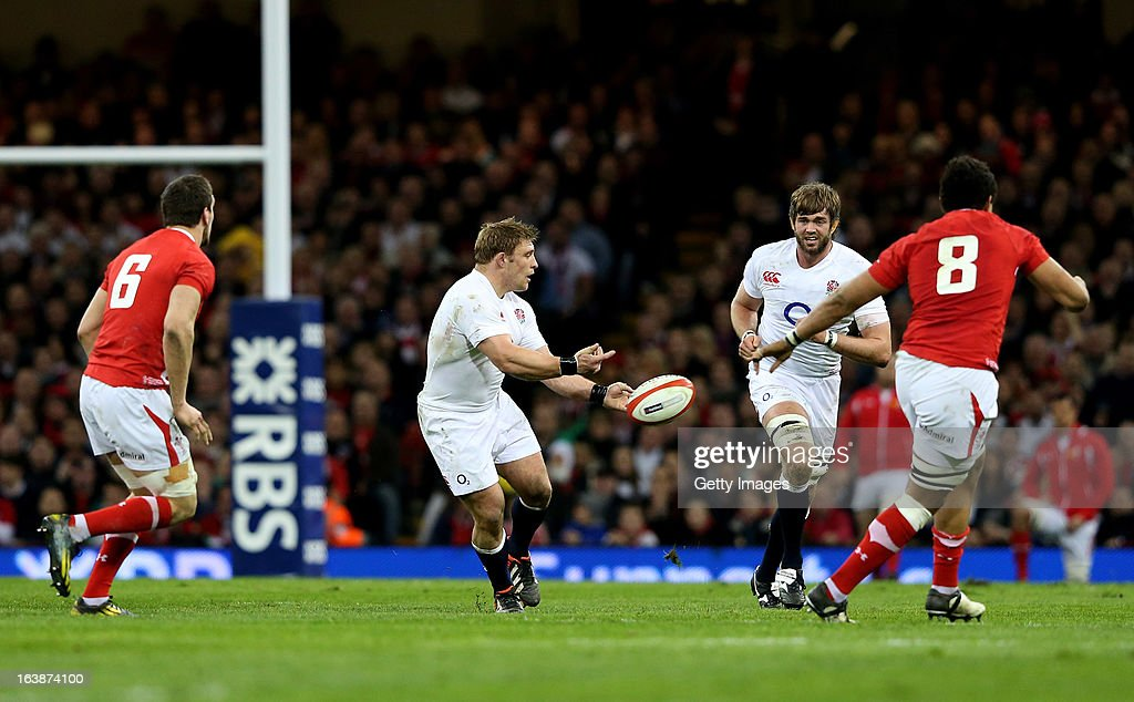 Tom Youngs of England passes the ball during the RBS Six Nations match between Wales and England at Millennium Stadium on March 16, 2013 in Cardiff, Wales.