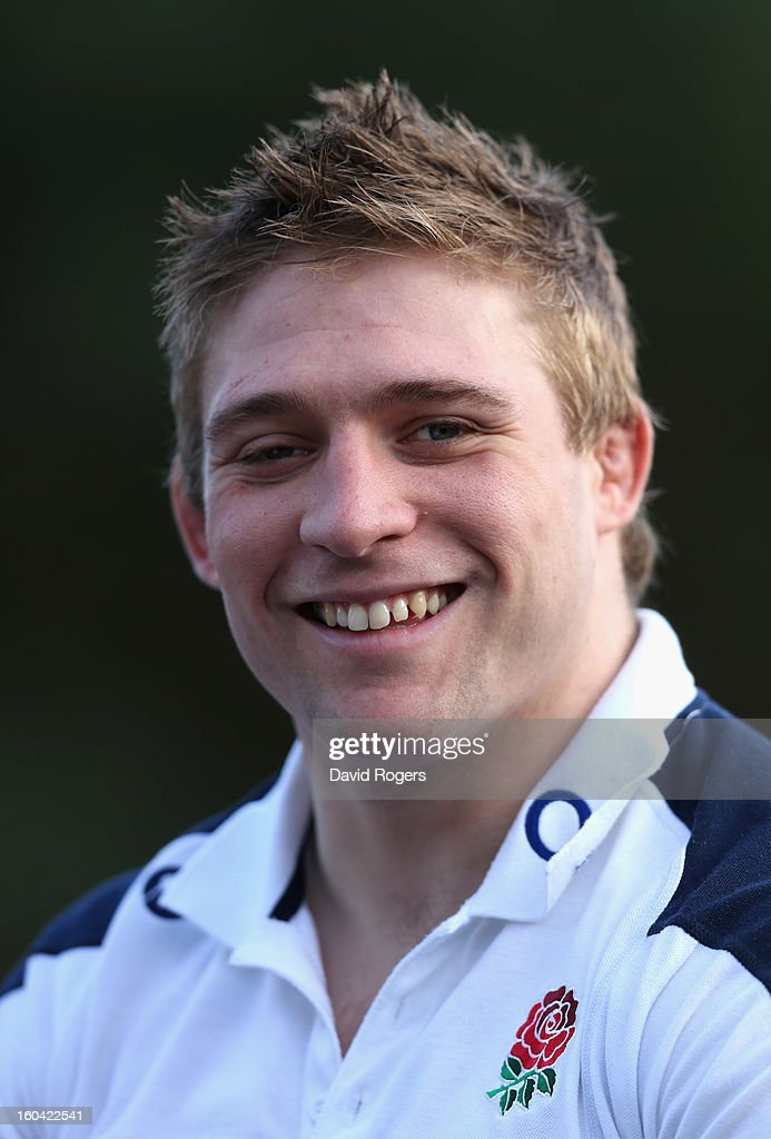 Tom Youngs of England smiles as he talks to the media during an England training session at Pennyhill Park on January 31, 2013 in Bagshot, England.