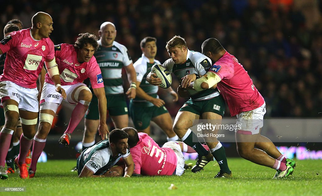 <a gi-track='captionPersonalityLinkClicked' href=/galleries/search?phrase=Tom+Youngs+-+Rugby+Player&family=editorial&specificpeople=10880014 ng-click='$event.stopPropagation()'>Tom Youngs</a> of Leicester is tackled during the Eurpean Rugby Champions Cup match between Leicester Tigers and Stade Francais at Welford Road on November 13, 2015 in Leicester, England.