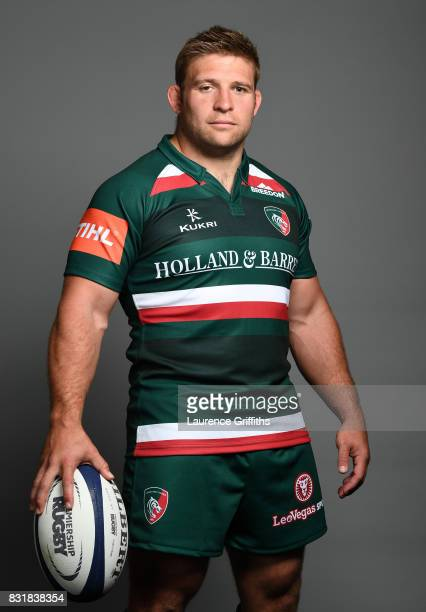 Tom Youngs of Leicester Tigers poses for a portrait during the squad photo call for the 20172018 Aviva Premiership Rugby season at Welford Road on...