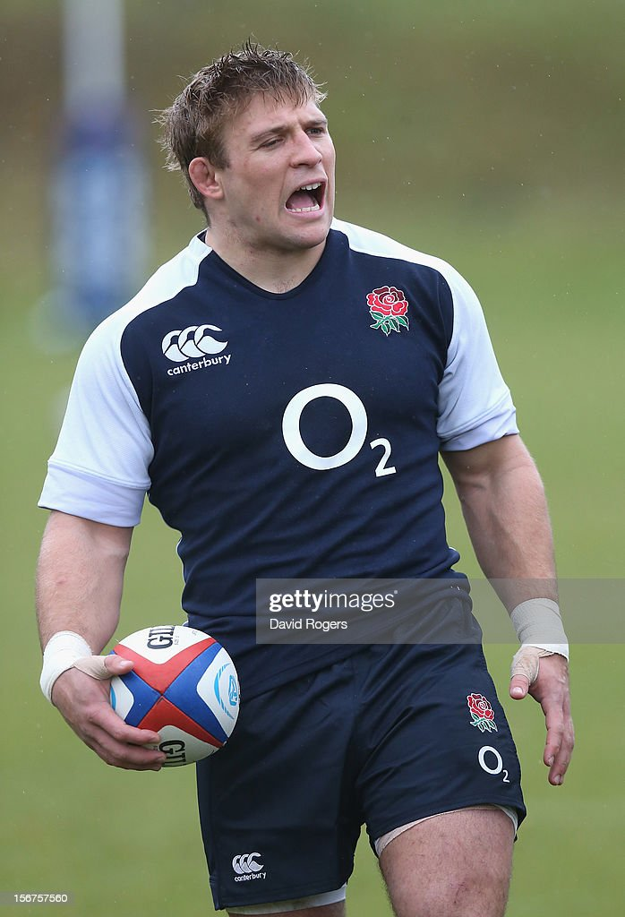 Tom Youngs shouts instructions during the England training session held at Pennyhill Park on November 20, 2012 in Bagshot, England.