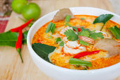 Thai Cuisine - Tom Yum Goong - Thai hot and spicy soup