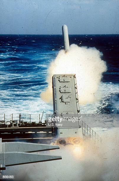 Tomahawk Cruise missile being fired from a US Navy ship in the Persian Gulf during Desert Storm Operation February 20 1991