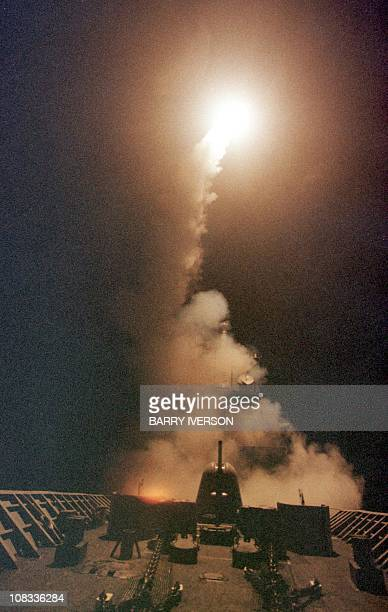 A Tomahawk Cruise missile takes off from the USS Philippine Sea 07 October 2001 A USled retaliatory strikes against Afghanistan began 07 October in...