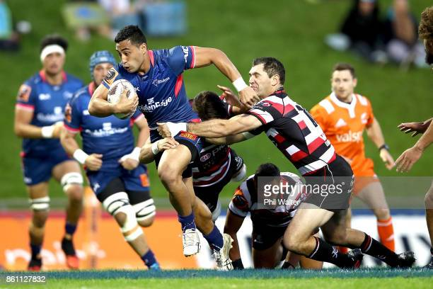 Tomas Aoake of Tasman is tacked during the round nine Mitre 10 Cup match between Counties Manukau and Tasman at ECOLight Stadium on October 14 2017...