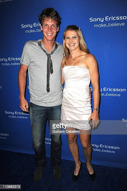 Tomas Berdych and Lucie Safarova attend the Sony Ericsson Players Party at Paris Theater on March 22 2011 in Miami Beach Florida