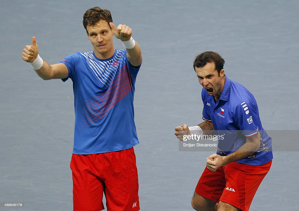 <a gi-track='captionPersonalityLinkClicked' href=/galleries/search?phrase=Tomas+Berdych&family=editorial&specificpeople=239147 ng-click='$event.stopPropagation()'>Tomas Berdych</a> (L) and Radek Stepanek of Czech Republic celebrate victory in their men's doubles match on day two of the Davis Cup World Group Final between Serbia and Czech Republic at Kombank Arena on November 16, 2013 in Belgrade, Serbia.
