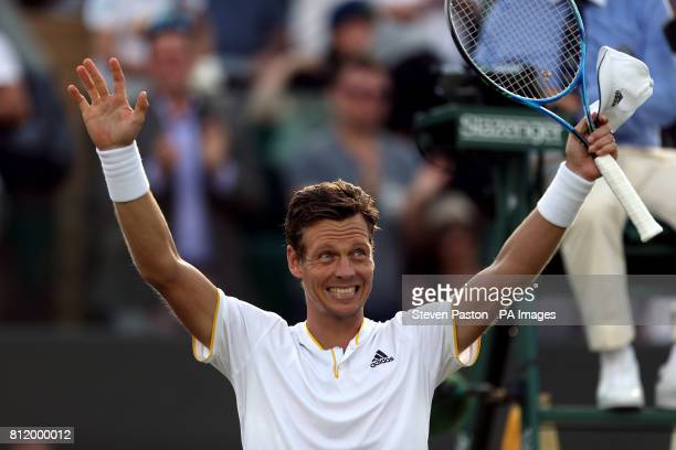 Tomas Berdych celebrates beating Dominic Thiem on day seven of the Wimbledon Championships at The All England Lawn Tennis and Croquet Club Wimbledon