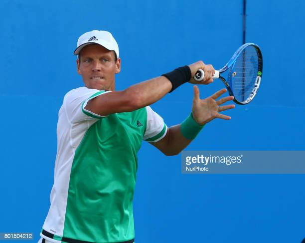 Tomas Berdych CZE against Denis Shapovalov against during Round Two match on the third day of the ATP Aegon Championships at the Queen's Club in west...