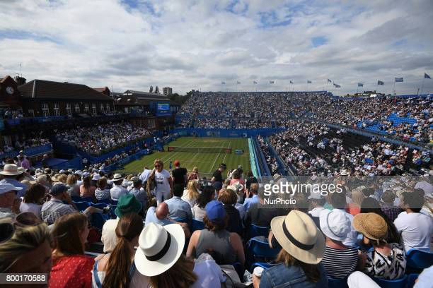 Tomas Berdych CZE against Feliciano Lopez during Men's Singles Quarter Final match on the fourth day of the ATP Aegon Championships at the Queen's...