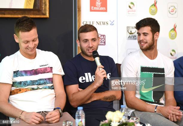 Tomas Berdych Daniel Evans and Karen Khachanov attend the draw ceremony during the WTA Dubai Duty Free Tennis Championship at the Dubai Tennis...