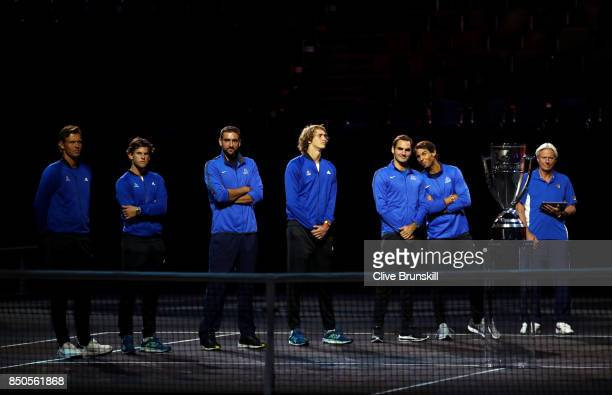 Tomas Berdych Dominic Thiem Marin Cilic Alexander Zverev Roger Federer Rafael Nadal and Bjorn Borg of Team Europe Line up during previews ahead of...