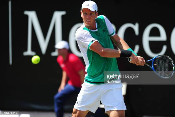 Tomas Berdych during a match against Bernard Tomic in the round of eight of the Mercedes Cup in Stuttgart Germany on June 15 2017