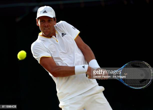 Tomas Berdych during his match against Dominic Thiem on day seven of the Wimbledon Championships at The All England Lawn Tennis and Croquet Club...