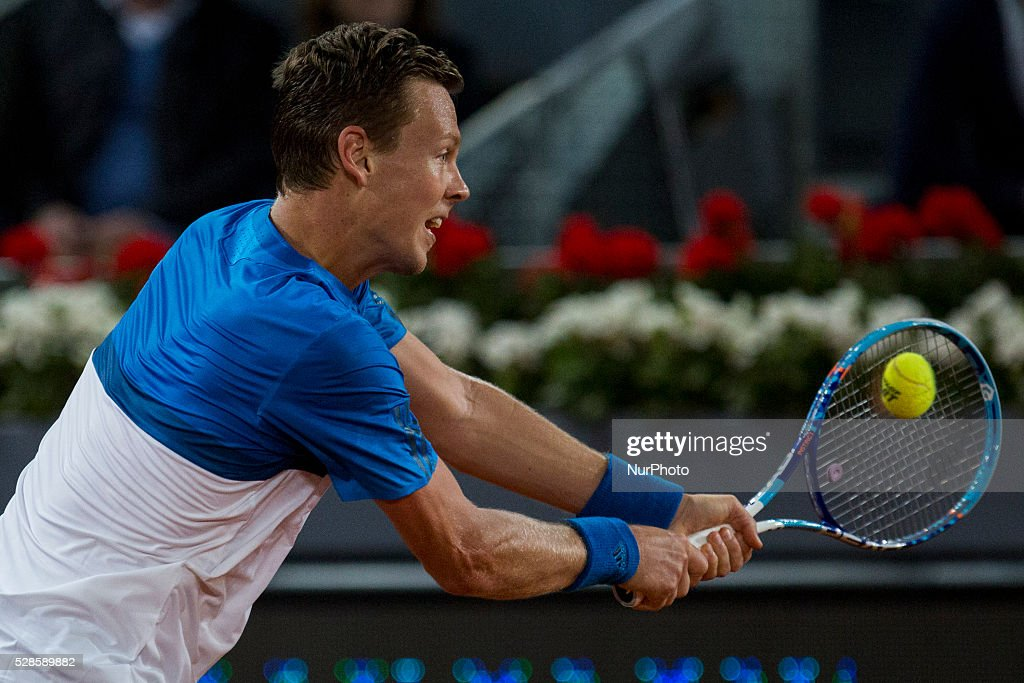 <a gi-track='captionPersonalityLinkClicked' href=/galleries/search?phrase=Tomas+Berdych&family=editorial&specificpeople=239147 ng-click='$event.stopPropagation()'>Tomas Berdych</a> from Czech Republic returns a ball while playing against Andy Murray from Britain, during a Madrid Open tennis tournament match in Madrid, Spain, Friday, May 6, 2016. Andy Murray won 6-3 and 6-2.