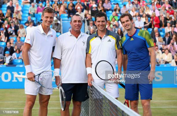 Tomas Berdych Ivan Lendl Tim Henman and Andy Murray ahead of the Rally Against Cancer charity match on day seven of the AEGON Championships at Queens...