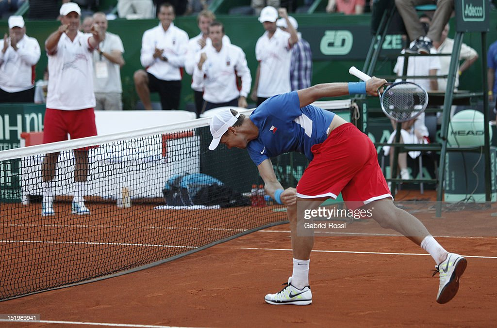 <a gi-track='captionPersonalityLinkClicked' href=/galleries/search?phrase=Tomas+Berdych&family=editorial&specificpeople=239147 ng-click='$event.stopPropagation()'>Tomas Berdych</a> of Czech Republic celebrates a victory during the second Davis Cup semi-final match between Argentina and Czech Republic at Mary Ter‡an de Weiss Stadium on September 14, 2012 in Buenos Aires, Argentina.