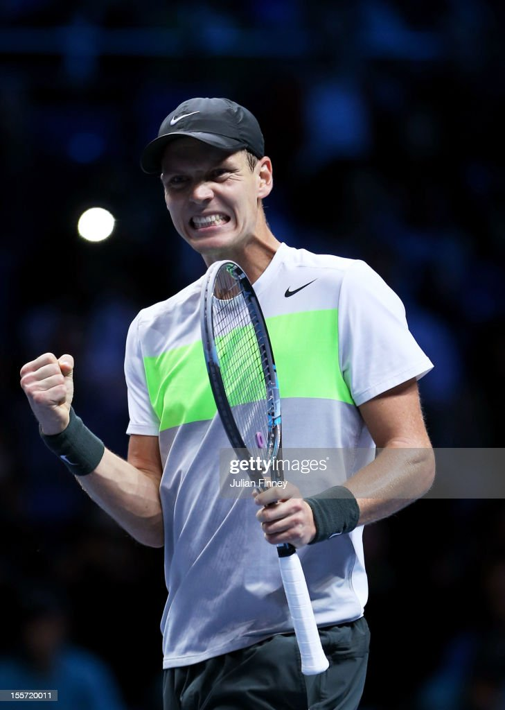 <a gi-track='captionPersonalityLinkClicked' href=/galleries/search?phrase=Tomas+Berdych&family=editorial&specificpeople=239147 ng-click='$event.stopPropagation()'>Tomas Berdych</a> of Czech Republic celebrates his victory during the men's singles match against Jo-Wilfried Tsonga of France on day three of the ATP World Tour Finals at the at O2 Arena on November 7, 2012 in London, England.