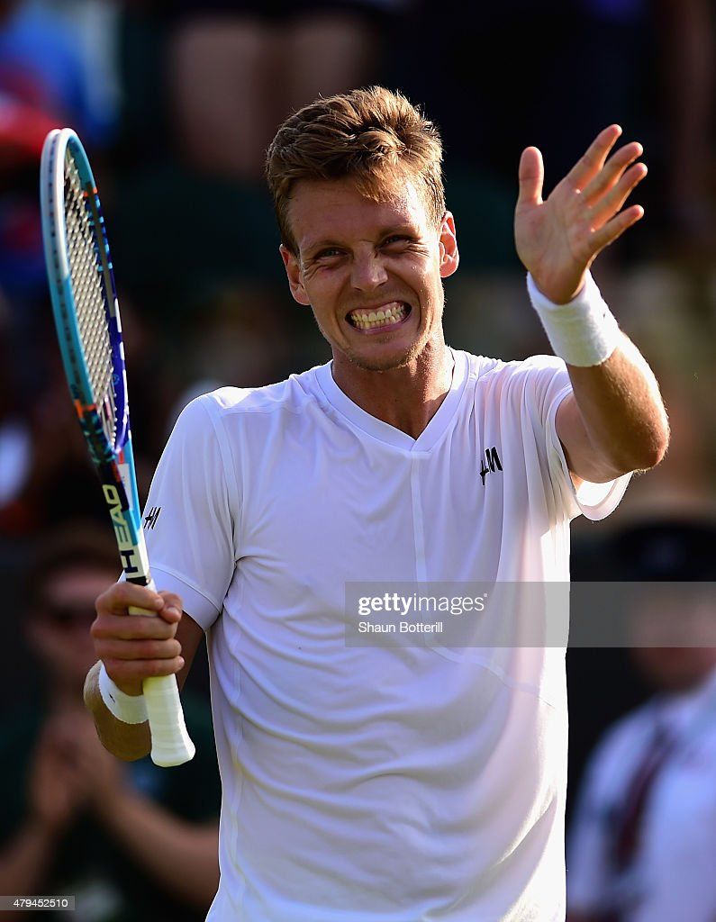 Tomas Berdych of Czech Republic celebrates winning in his Mens Singles Third Round match against Pablo Andujar of Spain during day six of the Wimbledon Lawn Tennis Championships at the All England Lawn Tennis and Croquet Club on July 4, 2015 in London, England.