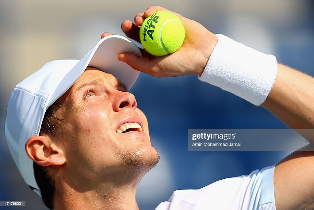 Tomas Berdych of Czech Republic during his first round match against Marius Copil of Romania on day 2 of the Dubai Duty Free Tennis ATP Championships on February 25, in Dubai, United Arab Emirates.