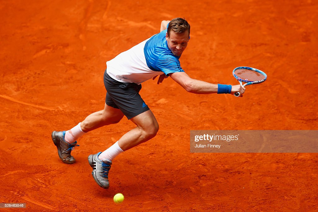 Tomas Berdych of Czech Republic in action against David Ferrer of Spain during day six of the Mutua Madrid Open tennis tournament at the Caja Magica on May 05, 2016 in Madrid, Spain.
