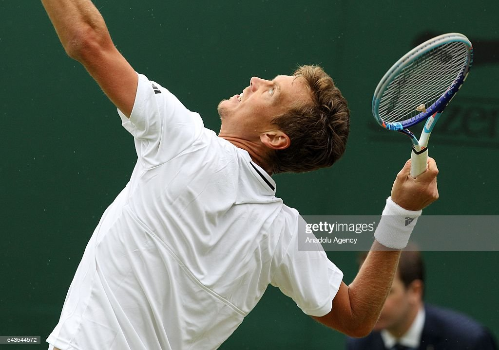 Tomas Berdych of Czech Republic in action against Ivan Dodig of Croatia in the men's Singles on day three of the 2016 Wimbledon Championships at the All England Lawn and Croquet Club in London, United Kingdom on June 29, 2016.