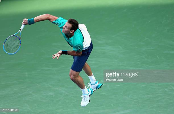 Tomas Berdych of Czech Republic in action against Joao Sousa of Portugal during day four of the ATP Dubai Duty Free Tennis Championship at the Dubai...