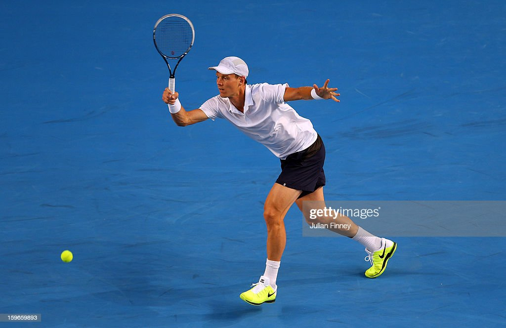 Tomas Berdych of Czech Republic in action against Jurgen Melzer of Austria in his third round match during day five of the 2013 Australian Open at Melbourne Park on January 18, 2013 in Melbourne, Australia.