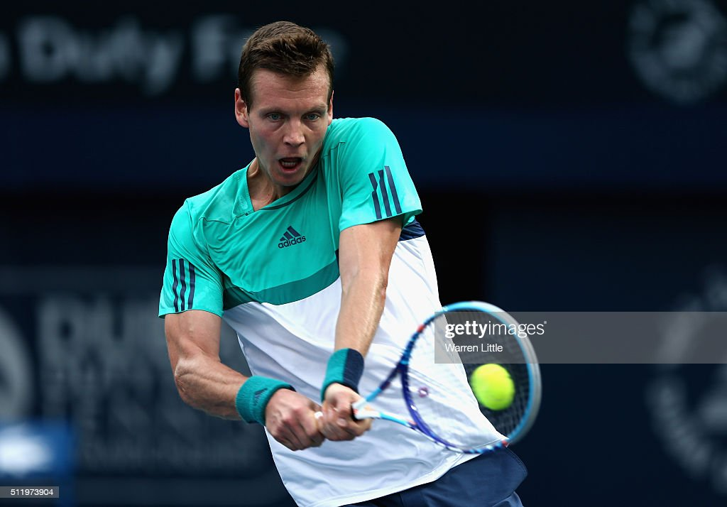 Tomas Berdych of Czech Republic in action against Thomas Fabbiano of Italy during day five of the ATP Dubai Duty Free Tennis Championship at the...